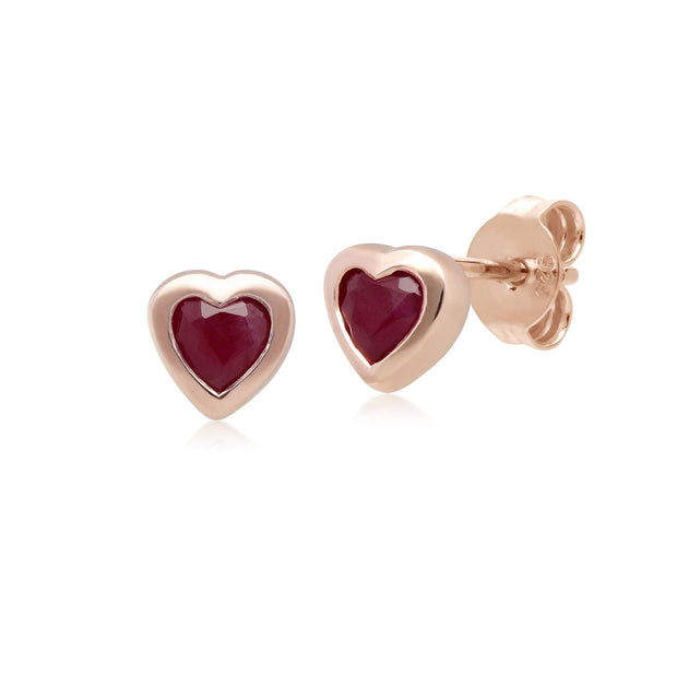 Classic Ruby Heart Stud Earrings in 9ct Rose Gold