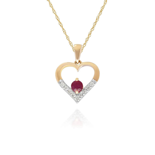 Classic Ruby & Diamond Heart Pendant in 9ct Yellow Gold