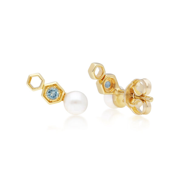 Modern Pearl & Blue Topaz Ear Climber Studs in 9ct Yellow Gold