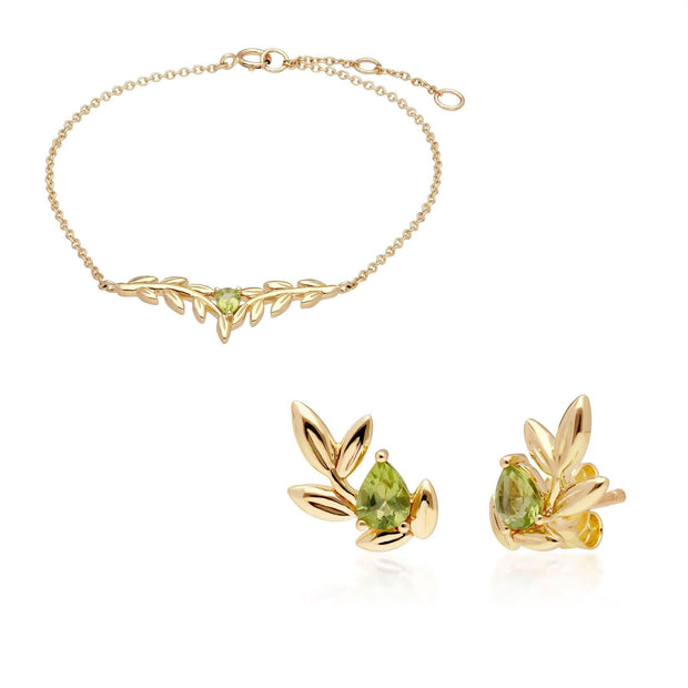 O Leaf Peridot Bracelet & Stud Earring Set in 9ct Yellow Gold