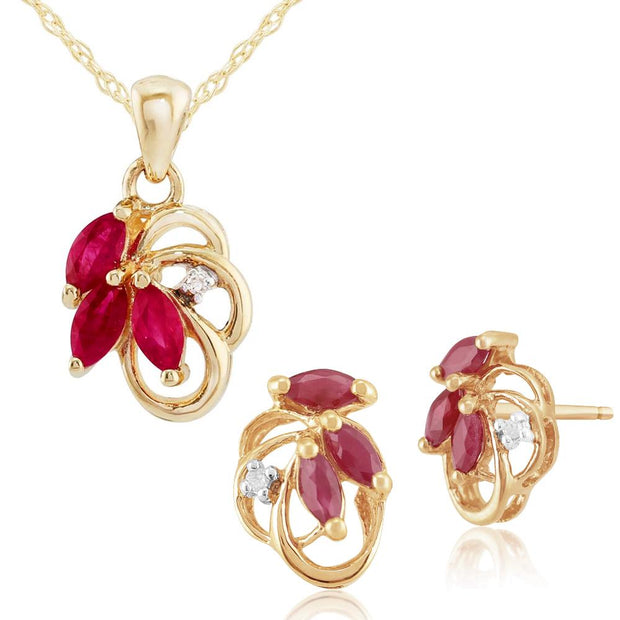 Art Nouveau Ruby & Diamond Leaf Stud Earrings & Pendant Set Image 1