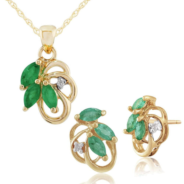 Art Nouveau Emerald & Diamond Leaf Stud Earrings & Pendant Set Image 1
