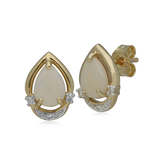 Classic Pear Opal & Diamond Stud Earrings in 9ct Yellow Gold