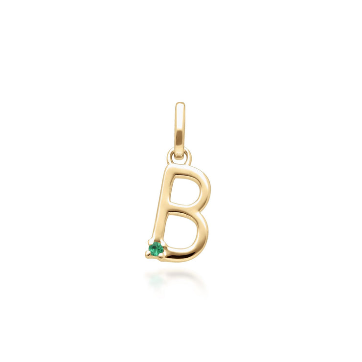 Initial B Emerald Letter Necklace in 9ct Yellow Gold