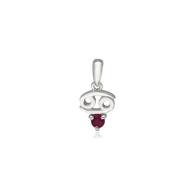 Ruby Cancer Zodiac Charm Necklace in 9ct White Gold