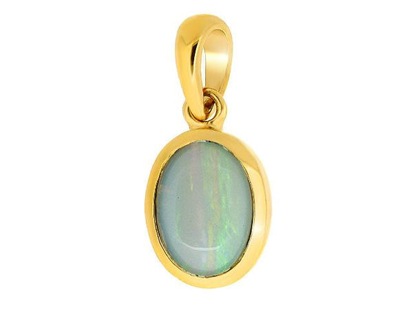 9ct Yellow Gold 0.69ct Opal Oval Cabochon Single Stone Pendant on Chain Image