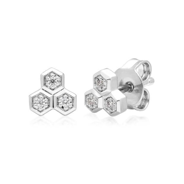 Diamond Geometric Trilogy Stud Earrings in 9ct White Gold