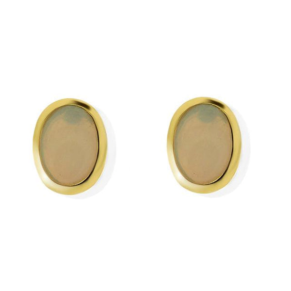 9ct Yellow Gold 0.85ct Opal Oval Cabochon Single Stone Stud Earrings Image