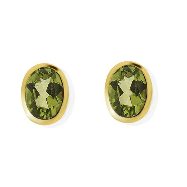 9ct Yellow Gold 1.55ct Peridot Oval Single Stone Framed Stud Earrings Image