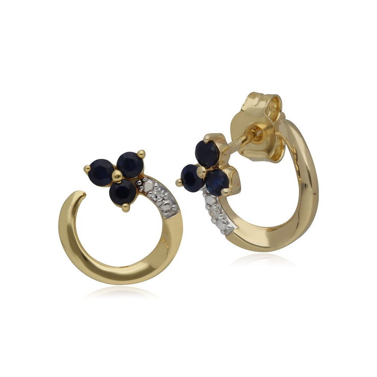 Classic Floral Sapphire & Diamond Swirl Stud Earrings in 9ct Yellow Gold