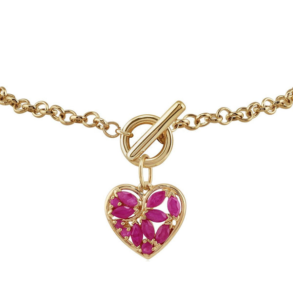 Classic Marquise Ruby Floral Heart Pendant & Charm Bracelet Image 2