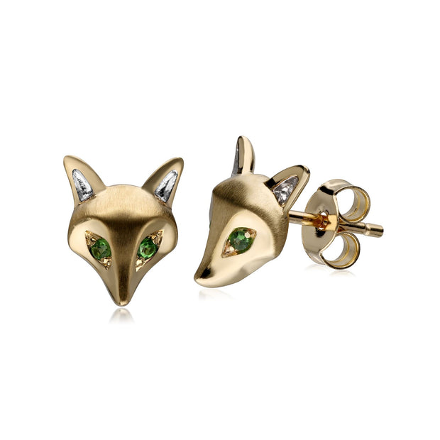 Gardenia Tsavorite Fox Earrings