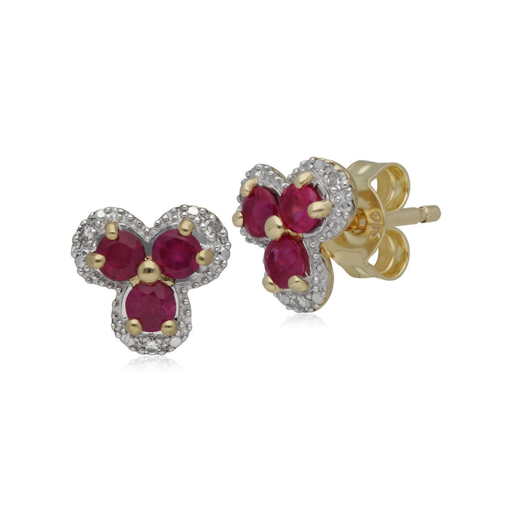 Classic Floral Ruby & Diamond Stud Earrings in 9ct Yellow Gold
