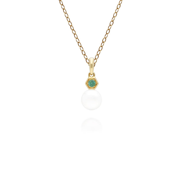 Modern Pearl & Emerald Pendant in 9ct Yellow Gold