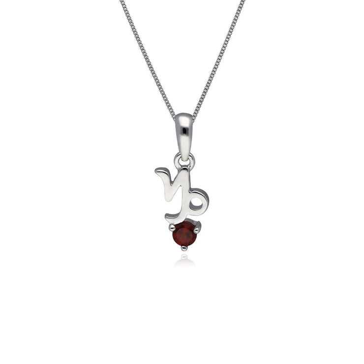 Garnet Capricorn Zodiac Charm Necklace in 9ct White Gold