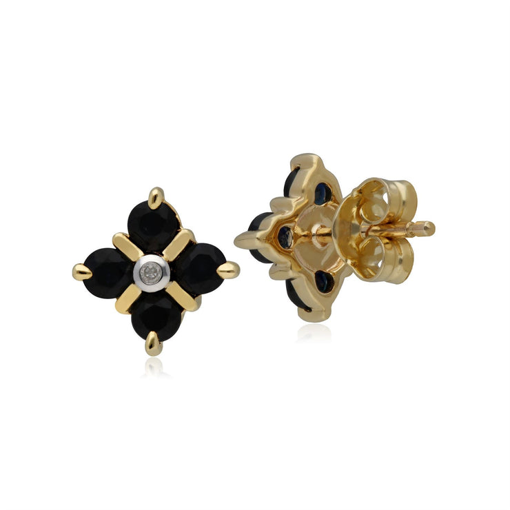 Classic Sapphire & Diamond Kiss Stud Earrings in 9ct Yellow Gold