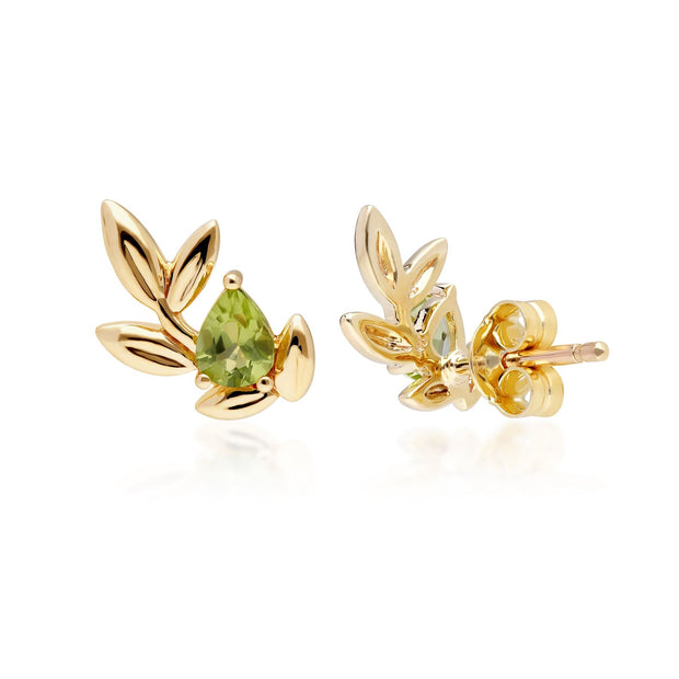 O Leaf Peridot Stud Earrings in 9ct Yellow Gold