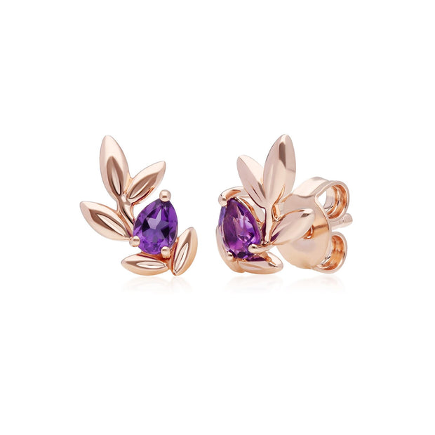 O Leaf Amethyst Stud Earrings in 9ct Rose Gold