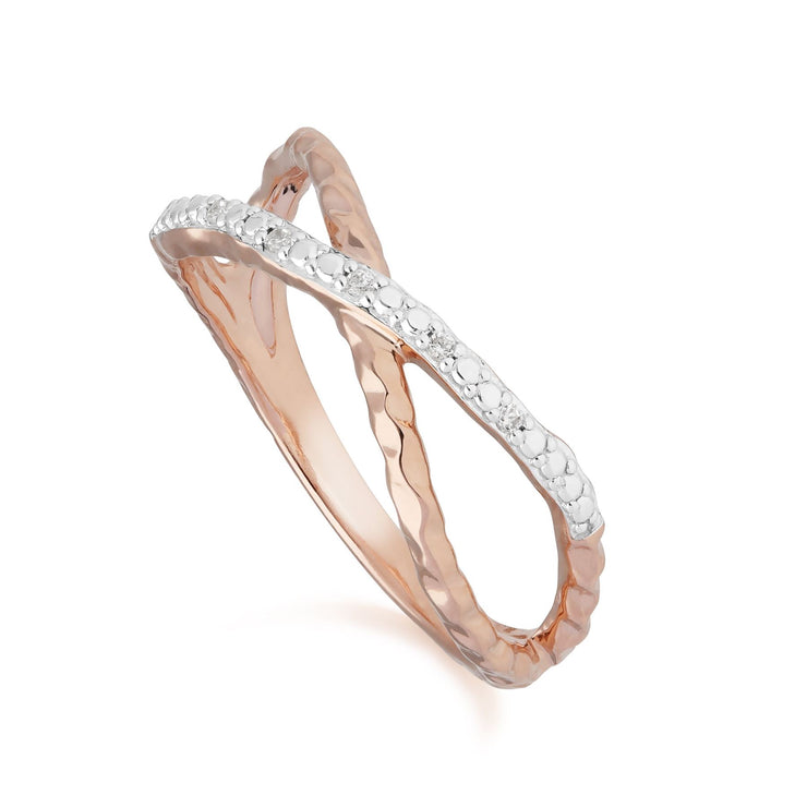 Diamond Pavé Crossover Ring in 9ct Rose Gold