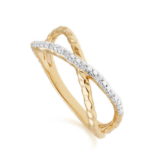 Diamond Pavé Hammered Crossover Ring in 9ct Yellow Gold