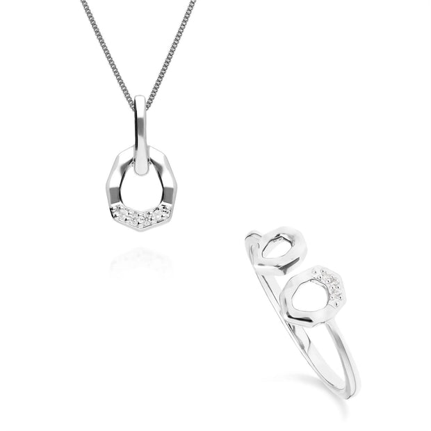 Diamond Pave Asymmetrical Pendant & Ring Set in 9ct White Gold