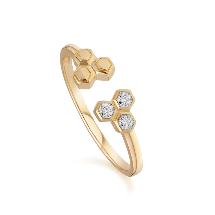 Diamond Geometric Trilogy Open Ring in 9ct Yellow Gold