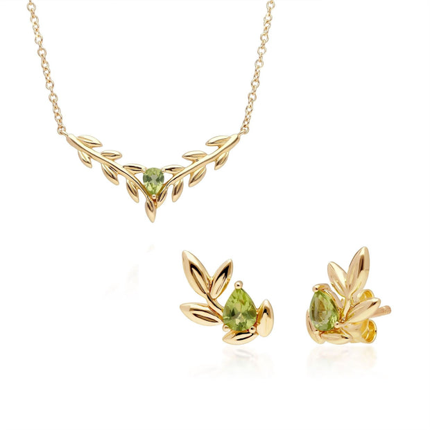 O Leaf Peridot Necklace & Stud Earring Set in 9ct Yellow Gold