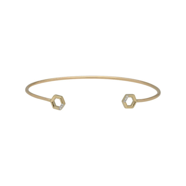 Diamond Pavé Hexagon Open Bangle in 9ct Yellow Gold