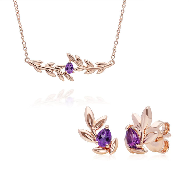 O Leaf Amethyst Necklace & Stud Earring Set in 9ct Rose Gold