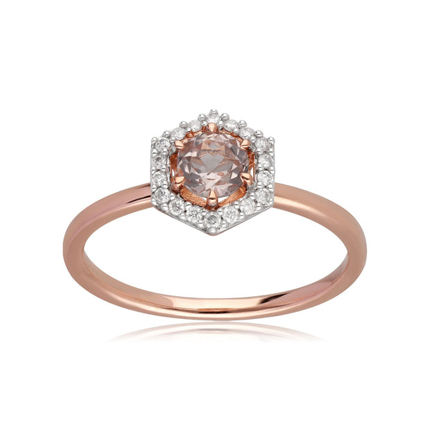 9ct Rose Gold 0.378ct Morganite & Diamond Halo Engagement Ring