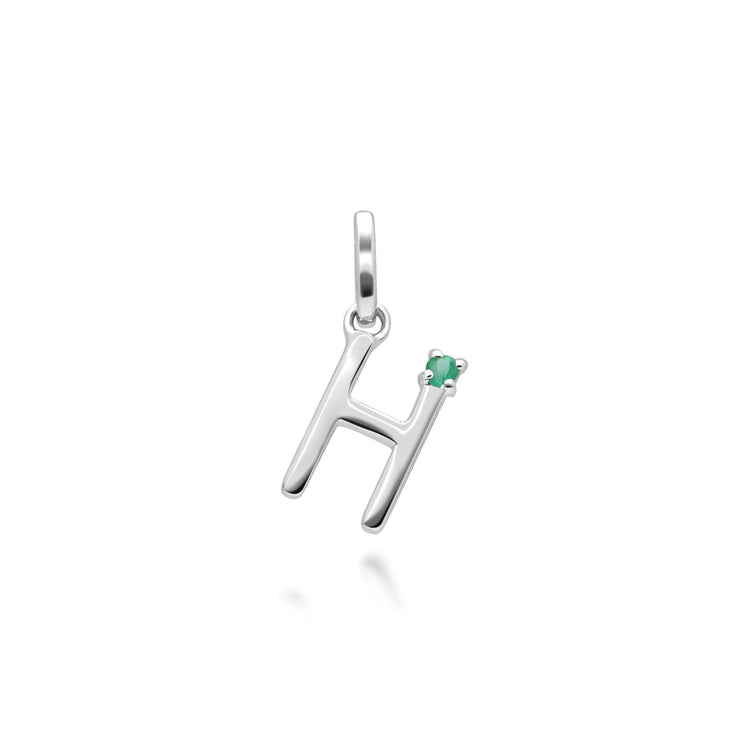 Initial H Emerald Letter Necklace in 9ct White Gold