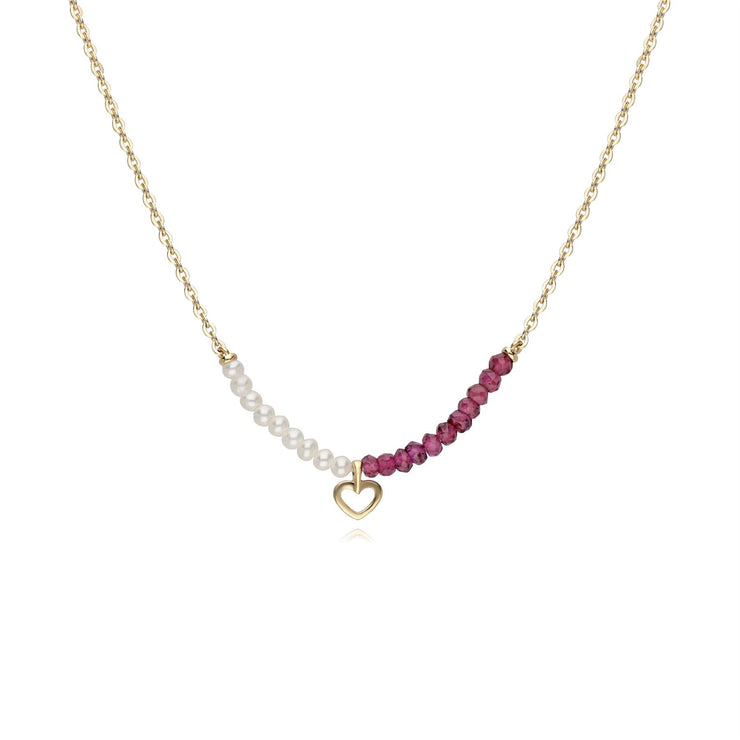 Cultured Freshwater Pearl & Rhodolite Heart Necklace