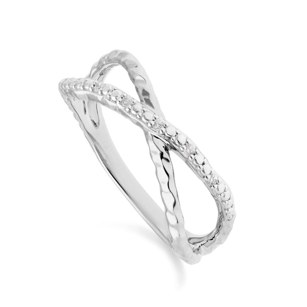 Diamond Pavé Hammered Crossover Ring in 9ct White Gold
