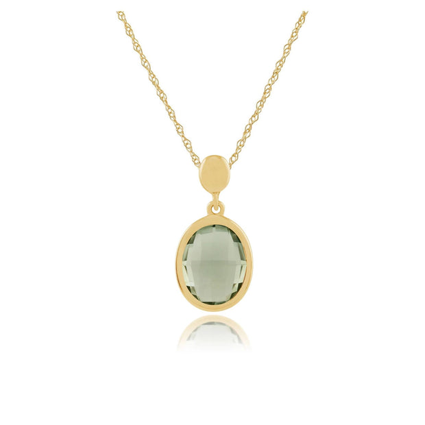 Gemondo 9ct Yellow Gold Oval Mint Green Quartz Pendant on Chain