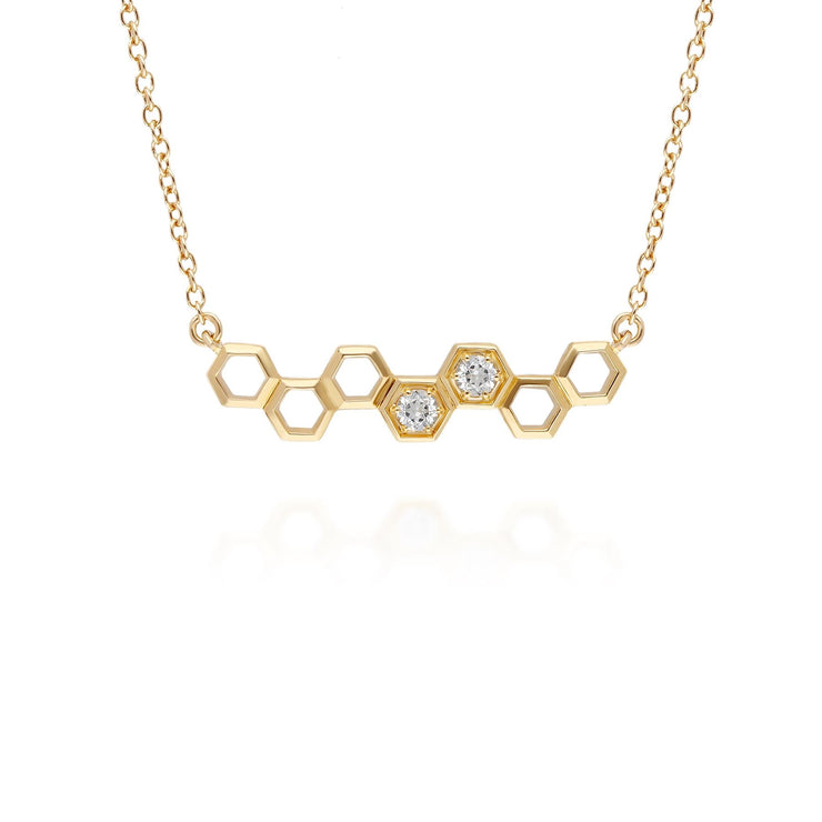 Honeycomb Inspired White Topaz Link Necklace in 9ct Yellow Gold