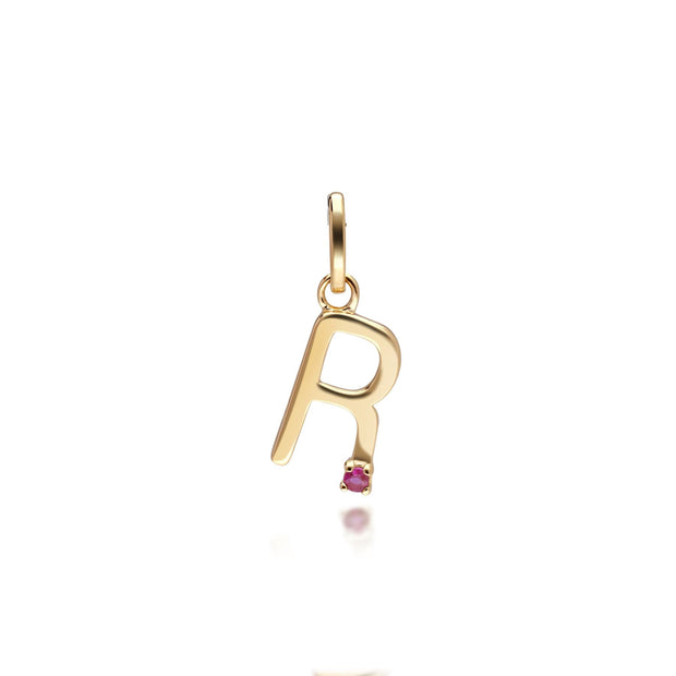 Initial R Ruby Letter Charm in 9ct Yellow Gold