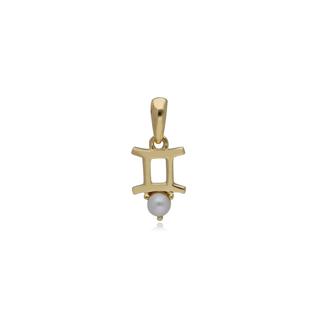 Pearl Gemini Zodiac Charm in 9ct Yellow Gold