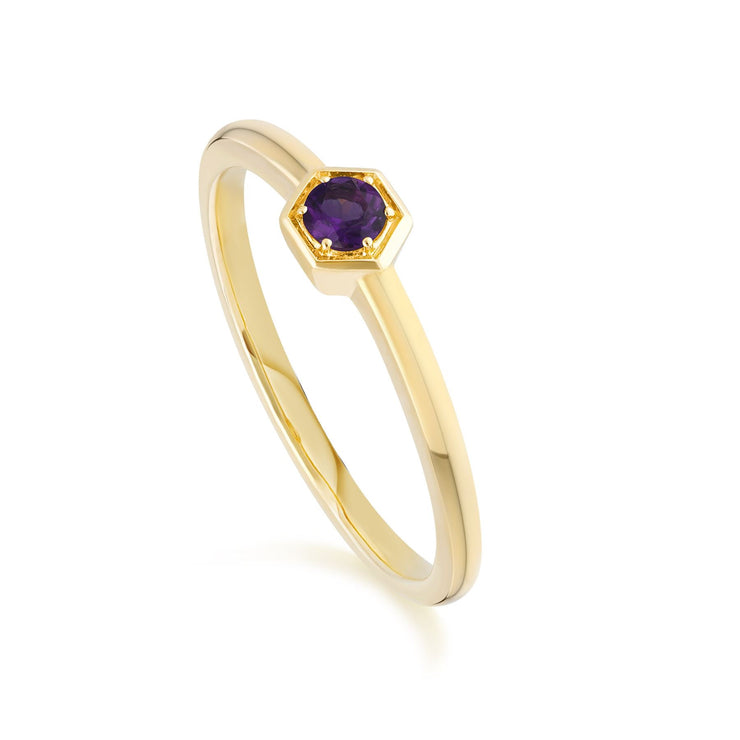 Honeycomb Inspired Amethyst Solitaire Ring in 9ct Yellow Gold
