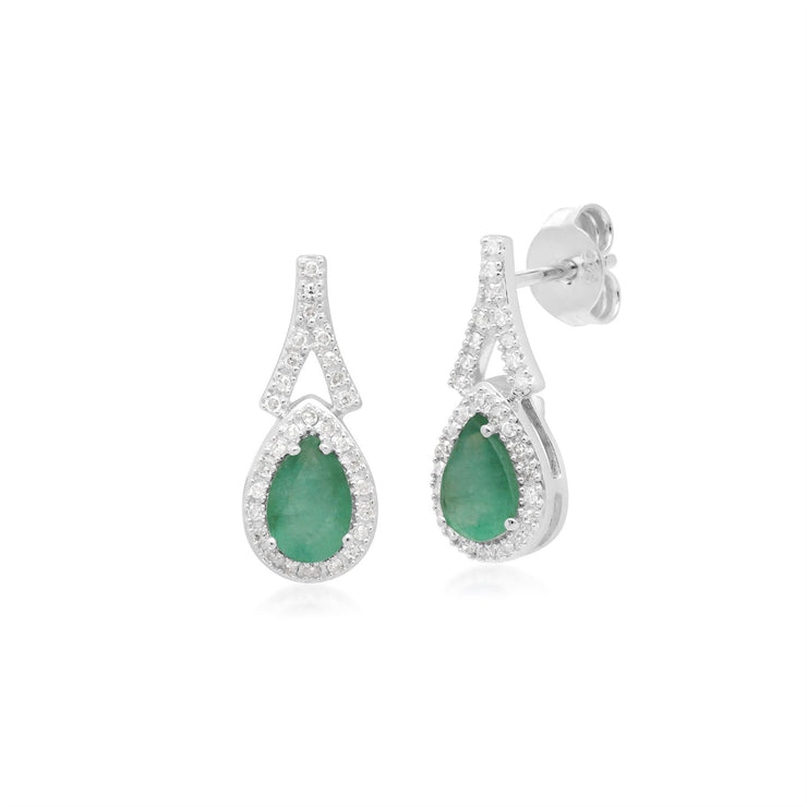 Teardrop Emerald & Diamond Drop Earrings in 9ct White Gold
