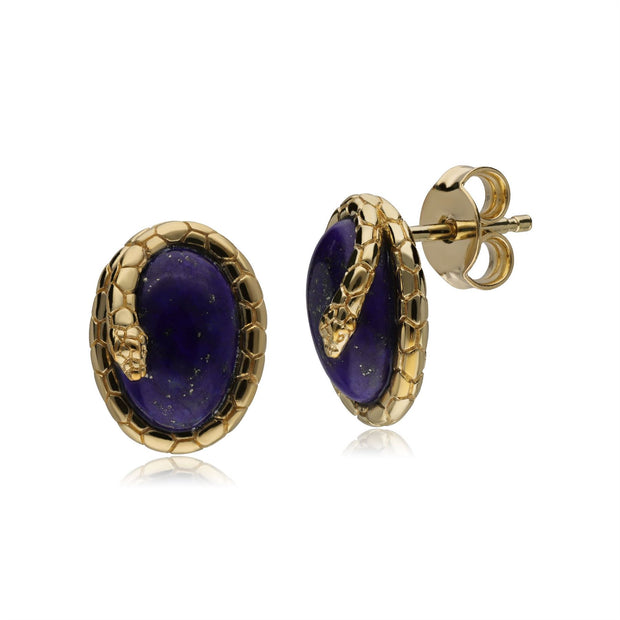 ECFEW™ Lapis Lazuli Winding Snake Stud Earrings