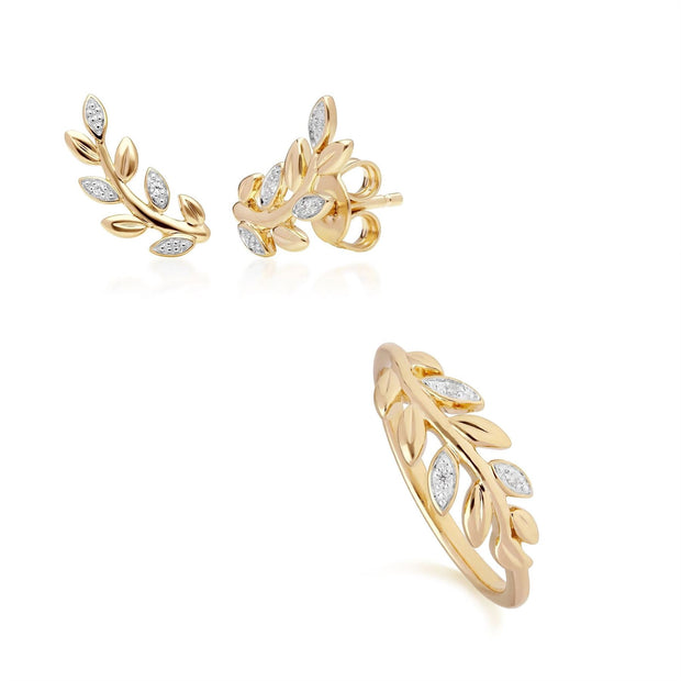 O Leaf Diamond Stud Earring & Ring Set in 9ct Yellow Gold