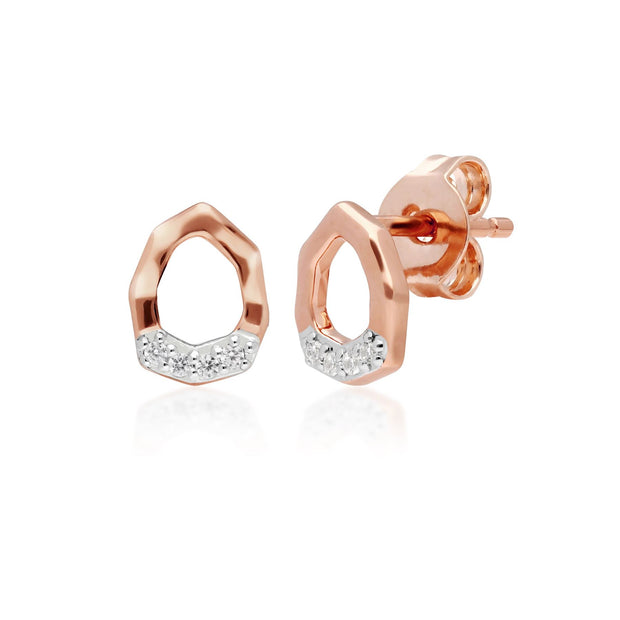 Diamond Pave Asymmetric Stud Earrings in 9ct Rose Gold