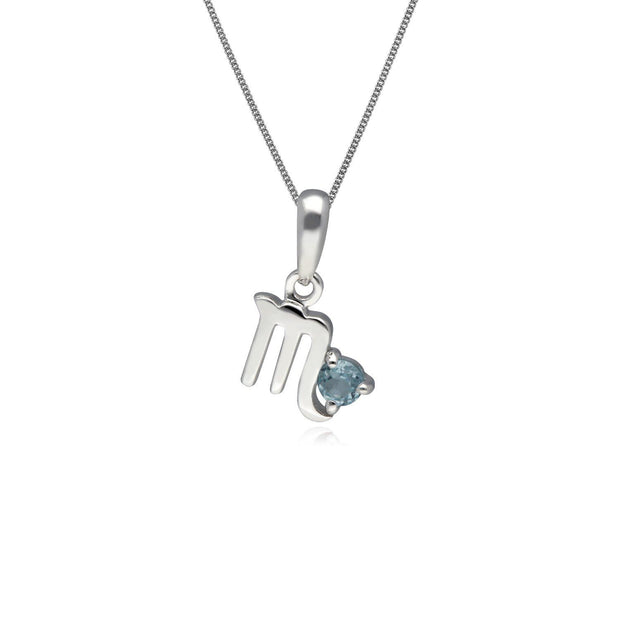 Blue Topaz Scorpio Zodiac Charm Necklace in 9ct White Gold