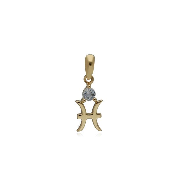 Aquamarine Pisces Zodiac Charm Necklace in 9ct Yellow Gold
