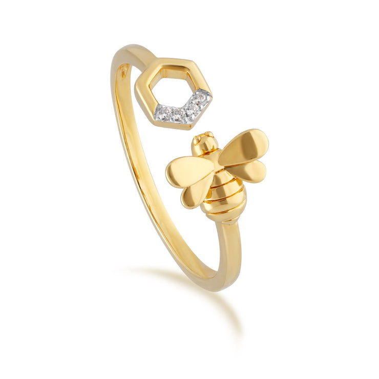 Honeycomb Inspired Diamond Bee Open Ring in 9ct Yellow Gold