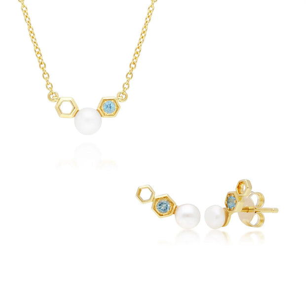 Modern Pearl & Blue Topaz Necklace & Earring Set in 9ct Yellow Gold