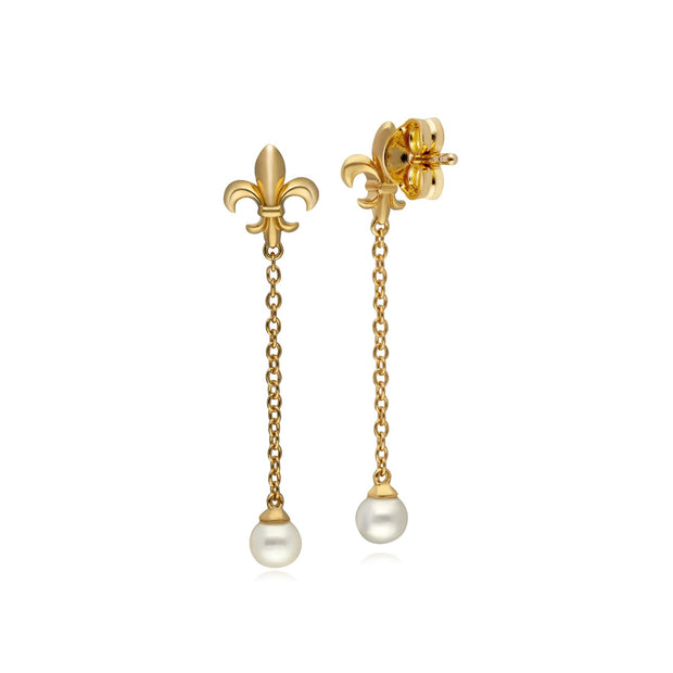 ECFEW™ Pearl Fleur De Lis Chain Drop Earrings
