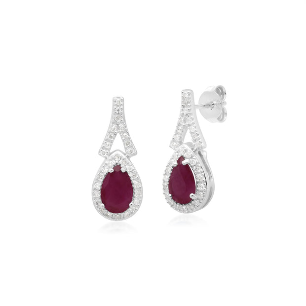 Teardrop Ruby & Diamond Drop Earrings in 9ct White Gold