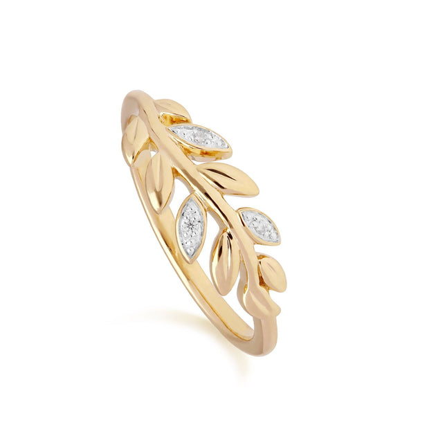 O Leaf Diamond Olive Branch Ring in 9ct Yellow Gold