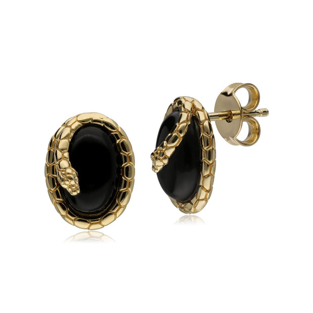 ECFEW™ Onyx Winding Snake Stud Earrings